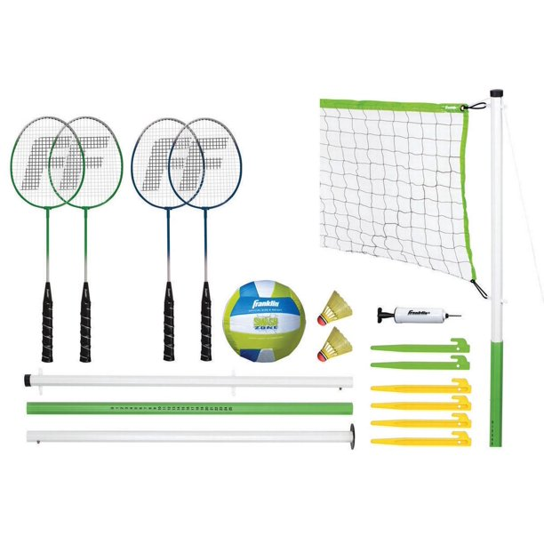 Franklin Sports Intermediate Badminton & Volleyball Combo Set