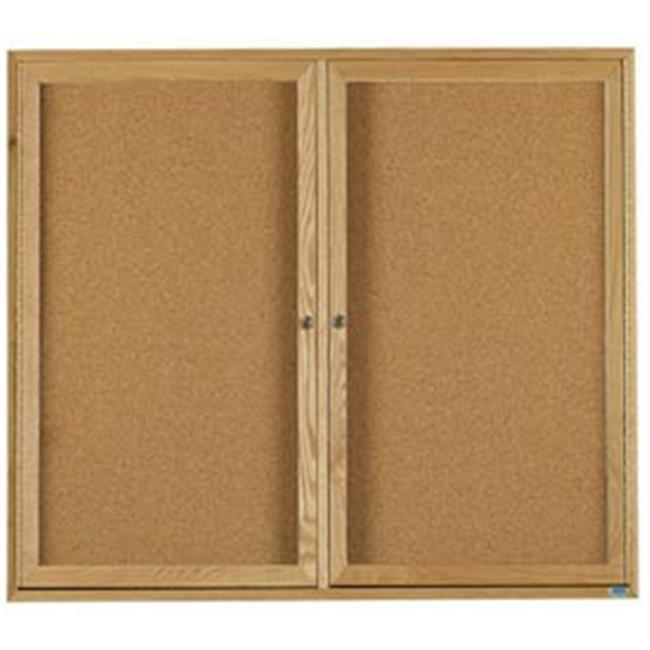 Aarco Products OBC3648R 48 inch W x 36 inch H Enclosed Bulletin Board - Oak