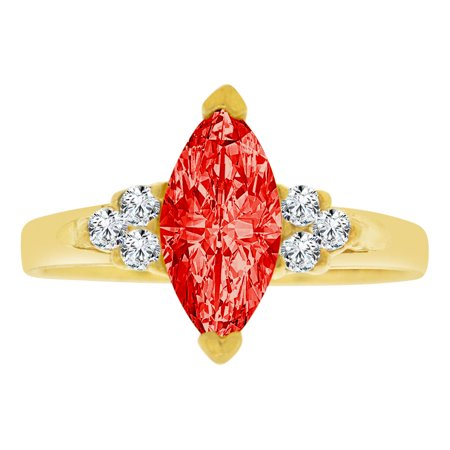 Simple Marquise - 14k Yellow Gold, Simple Classic Ring Created Color Marquise CZ Synthetic Jul Birthstones