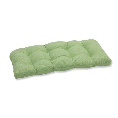 Green Indoor  Outdoor Wicker Loveseat Settee Tufted Cushion Sunbrella Forest Hunter