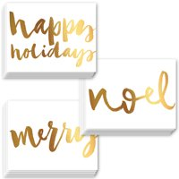Pretty Christmas Cards 24 Pack w Envelopes 3 Assorted Shiny Faux Gold Foil Holiday Designs Perfect for Festive Wishes to Family Friends 24 Boxed Set Season's Greeting Notecards by Digibuddha VHA0035B