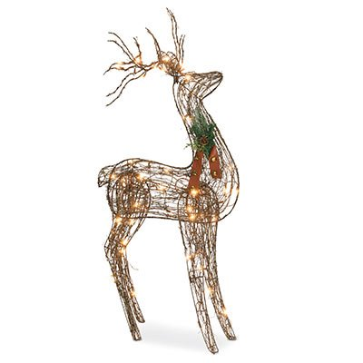 NOMA/INLITEN-IMPORT Grapevine Standing Deer Christmas Lawn Decoration, Lighted, 48-In.