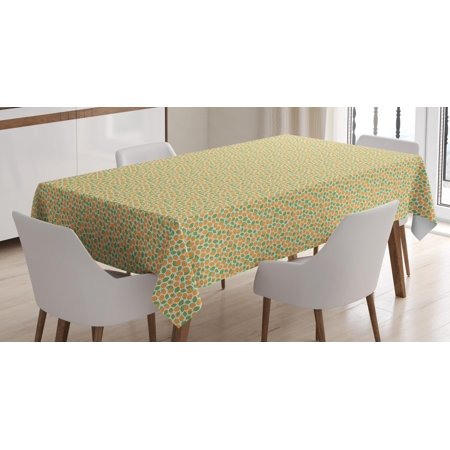 Raspberry Tablecloth, Pattern with Hand-Drawn Juicy Savoury Raspberries Vegan Food, Rectangular Table Cover for Dining Room Kitchen, 60 X 84 Inches, Marigold Fern Green and White, by Ambesonne - Halloween Savoury Food