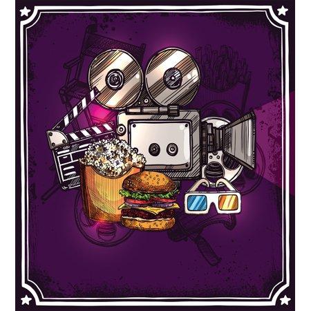 Modern Decor King Size Duvet Cover Set  Cartoon Like Cinema Movie Image Burgers Popcorns Glasses Art Print  Decorative 3 Piece Bedding Set With 2 Pillow Shams  Plum  By Ambesonne
