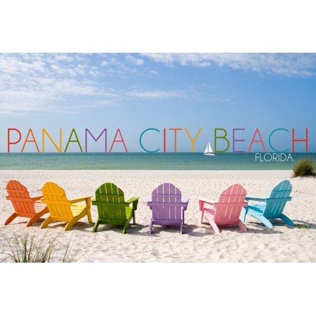 Panama City Beach, Florida - Colorful Beach Chairs Print Wall Art By Lantern