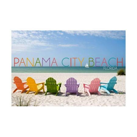 Panama City Beach, Florida - Colorful Beach Chairs Print Wall Art By Lantern - Party City Largo Florida