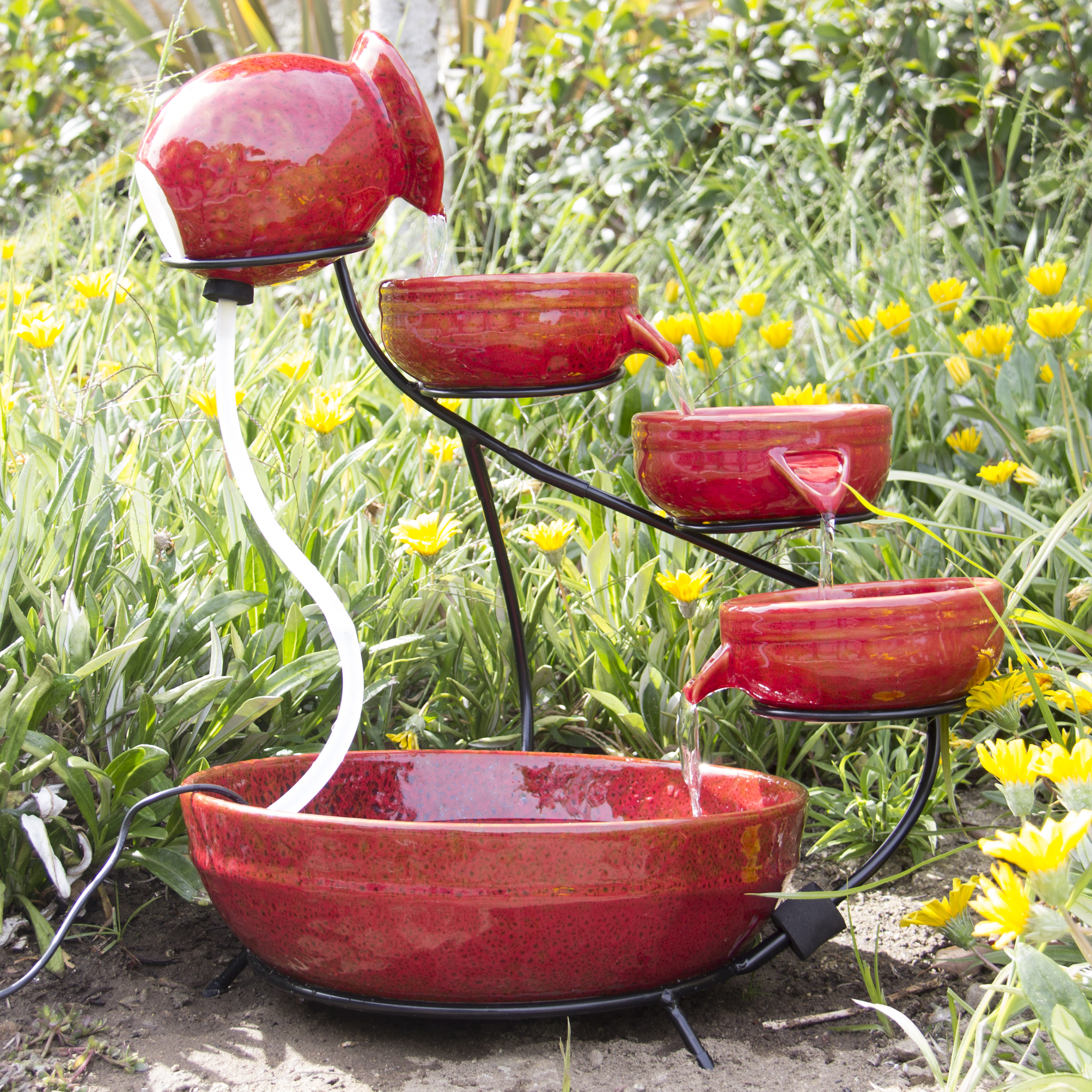 Attirant Best Choice Products Ceramic Solar Water Fountain Garden Zen Free Standing  Weather Proof   Red