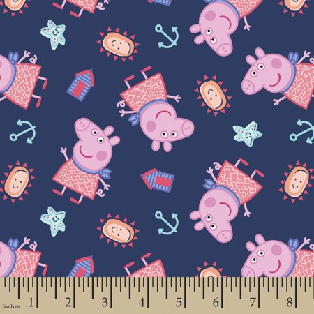 Peppa Pig By The Seaside Cotton Fabric By The Yard