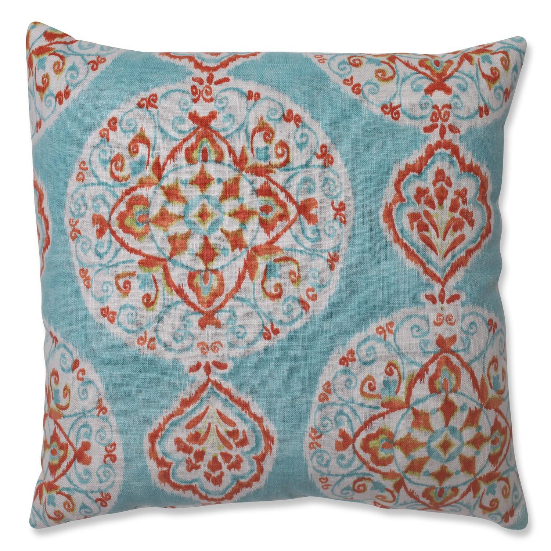 "16.5"" Heavenly Orbs Aqua Blue, Ivory White and Orange Decorative Throw Pillow"