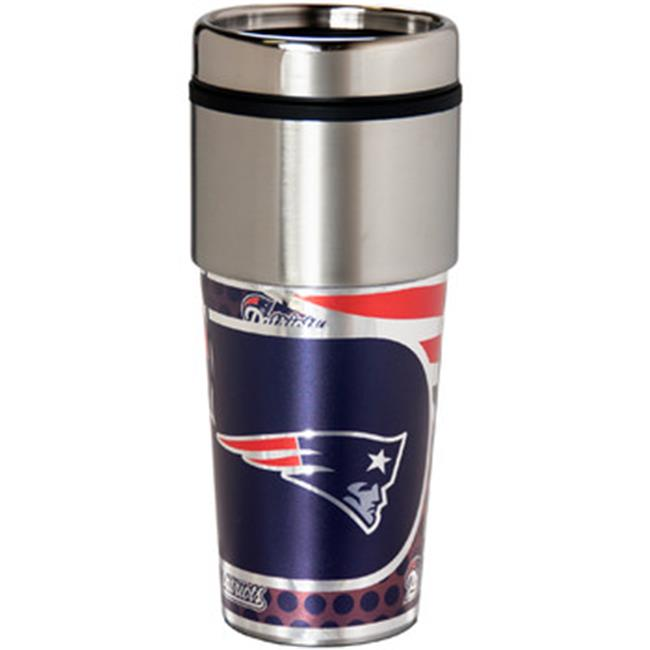 Great American Products 46511 New England Patriots Stainless Steel Travel Tumbler Metallic Graphics - 16 oz.