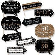 funny adult 50th birthday gold birthday party photo booth props kit 10 count - 50th Birthday Party Decorations