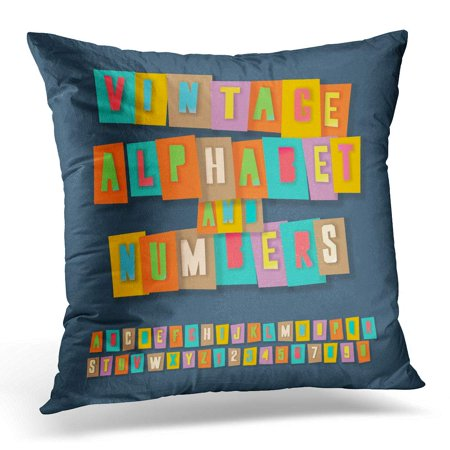ECCOT Yellow Letter Vintage Alphabet and Numbers Colorful Craft Design Cut Out by Scissors from Fun Pillowcase Pillow Cover Cushion Case 20x20 inch Alphabet Letter Cut Outs