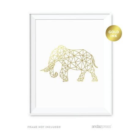 Elephant Geometric Animal Origami Wall Art Metallic Gold Ink - Elephant Golf