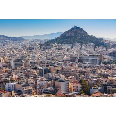 - Athens Attica Greece View over Athens from the Acropolis to 277 meter high Mount Lycabettus crowned by the Chapel of St George Poster Print by Panoramic Images