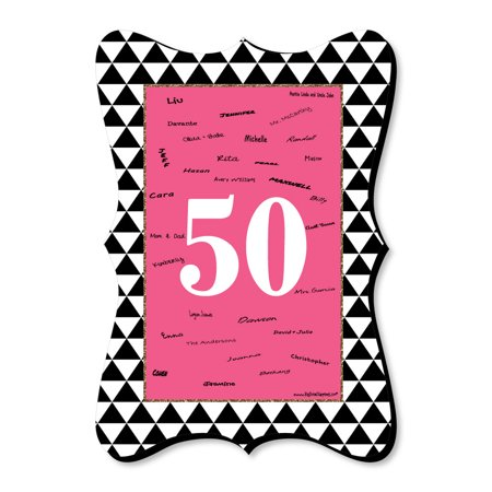 Chic 50th Birthday - Pink, Black and Gold - Unique Alternative Guest Book - Birthday Party Signature Mat](Chica Birthday Party Supplies)