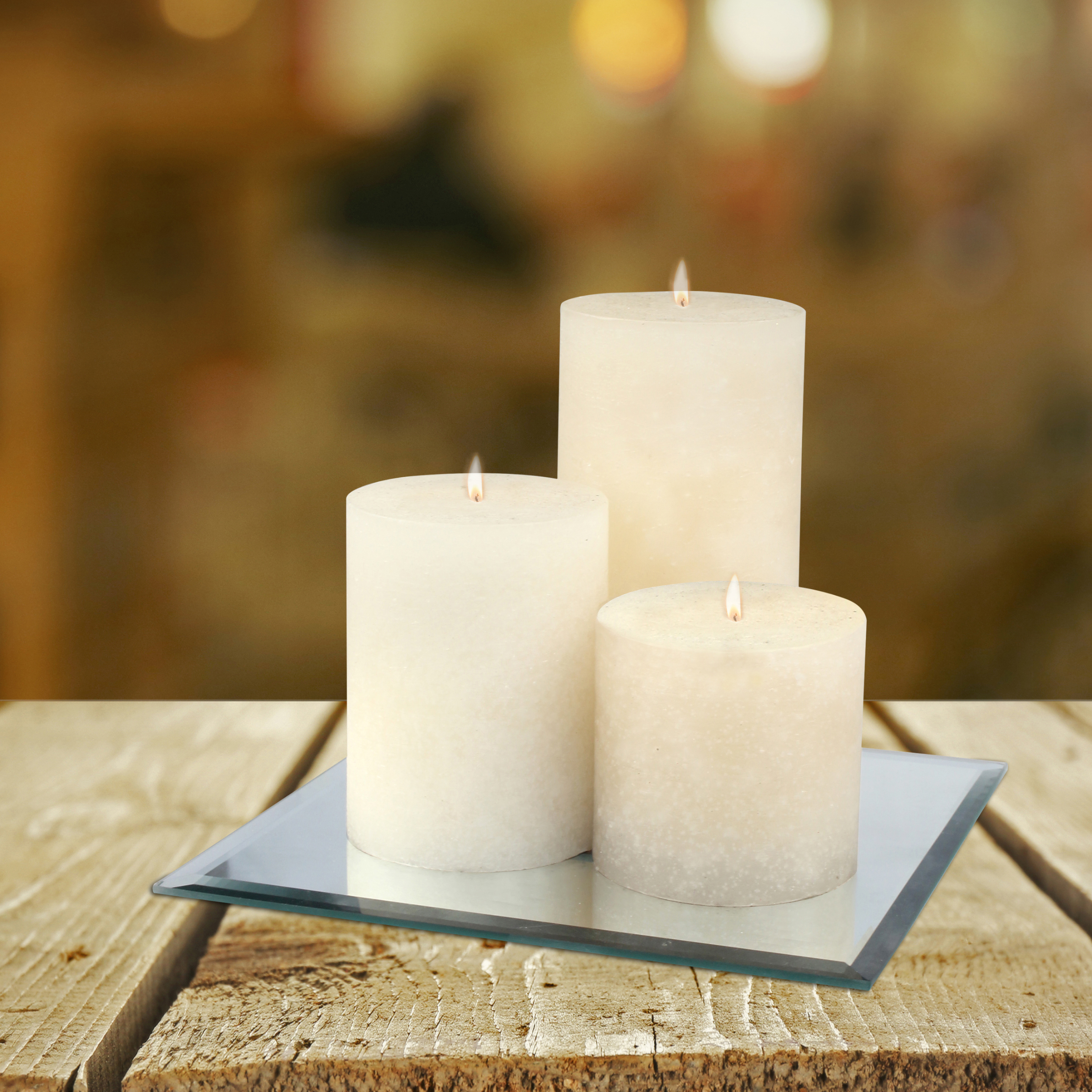 Mainstays Square Mirror Candle Plate with Beveled Edges and Felt Pads, Pillar Candle Holder