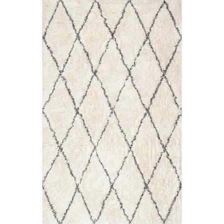 nuLOOM Sheba Cotton Diamond Shaggy Area Rug or Runner