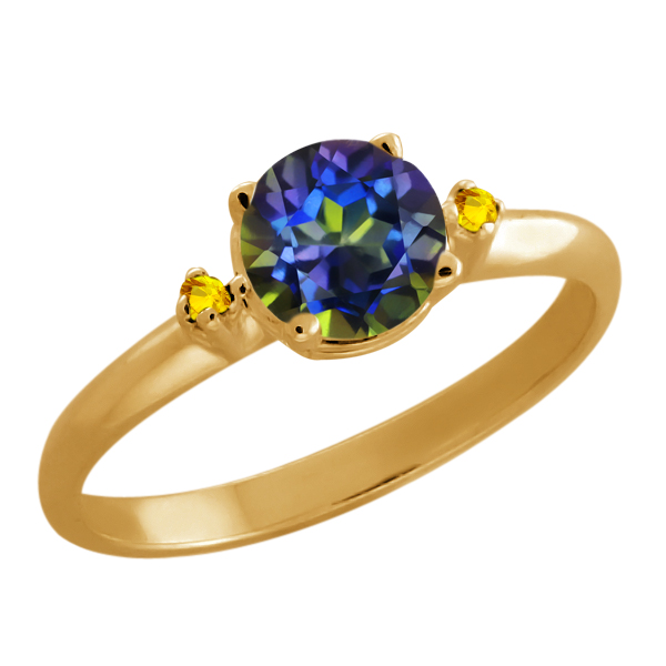 0.82 Ct Round Blue Mystic Topaz Citrine Gold Plated Sterling Silver Ring
