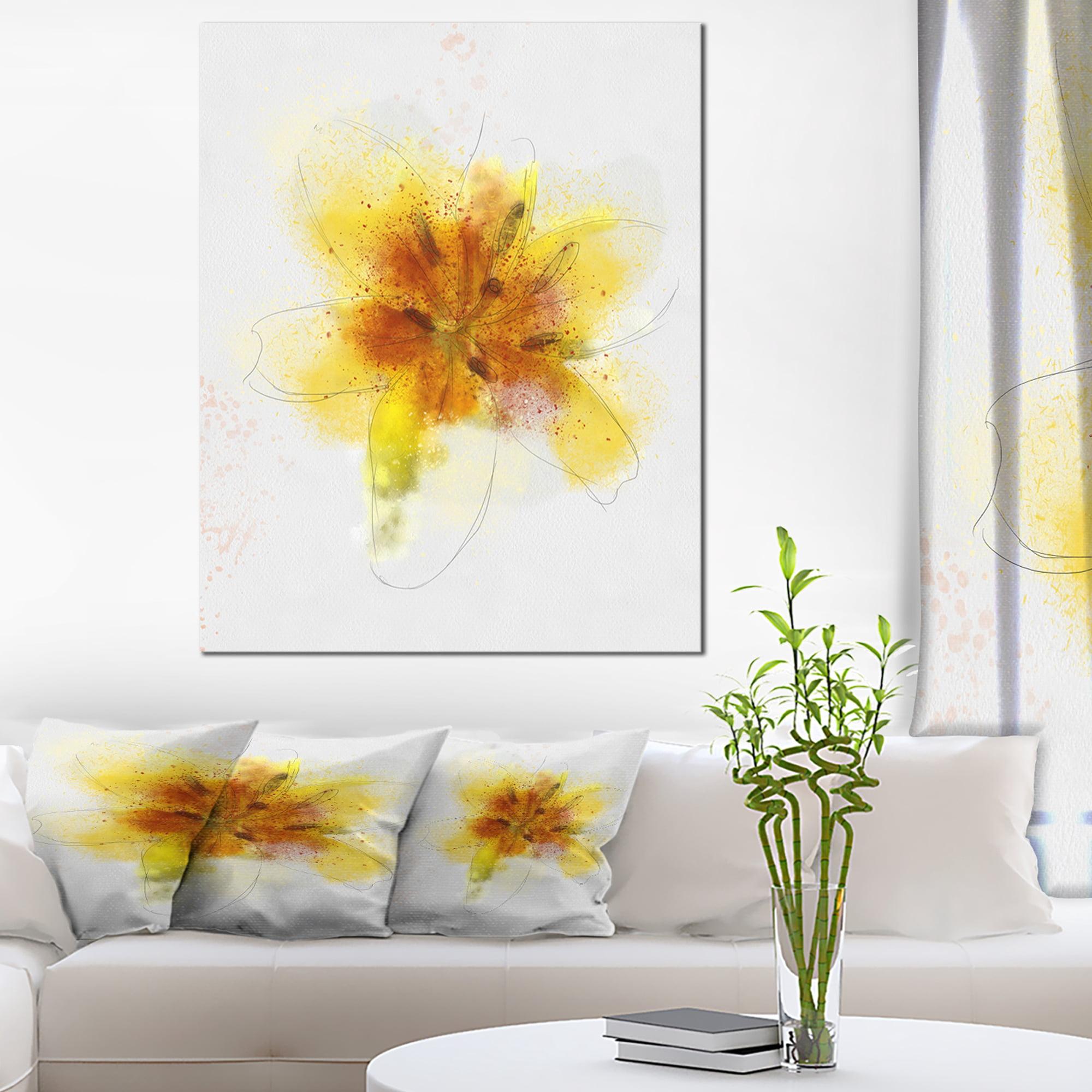 Yellow Flower Sketch on White - Flower Artwork on Canvas