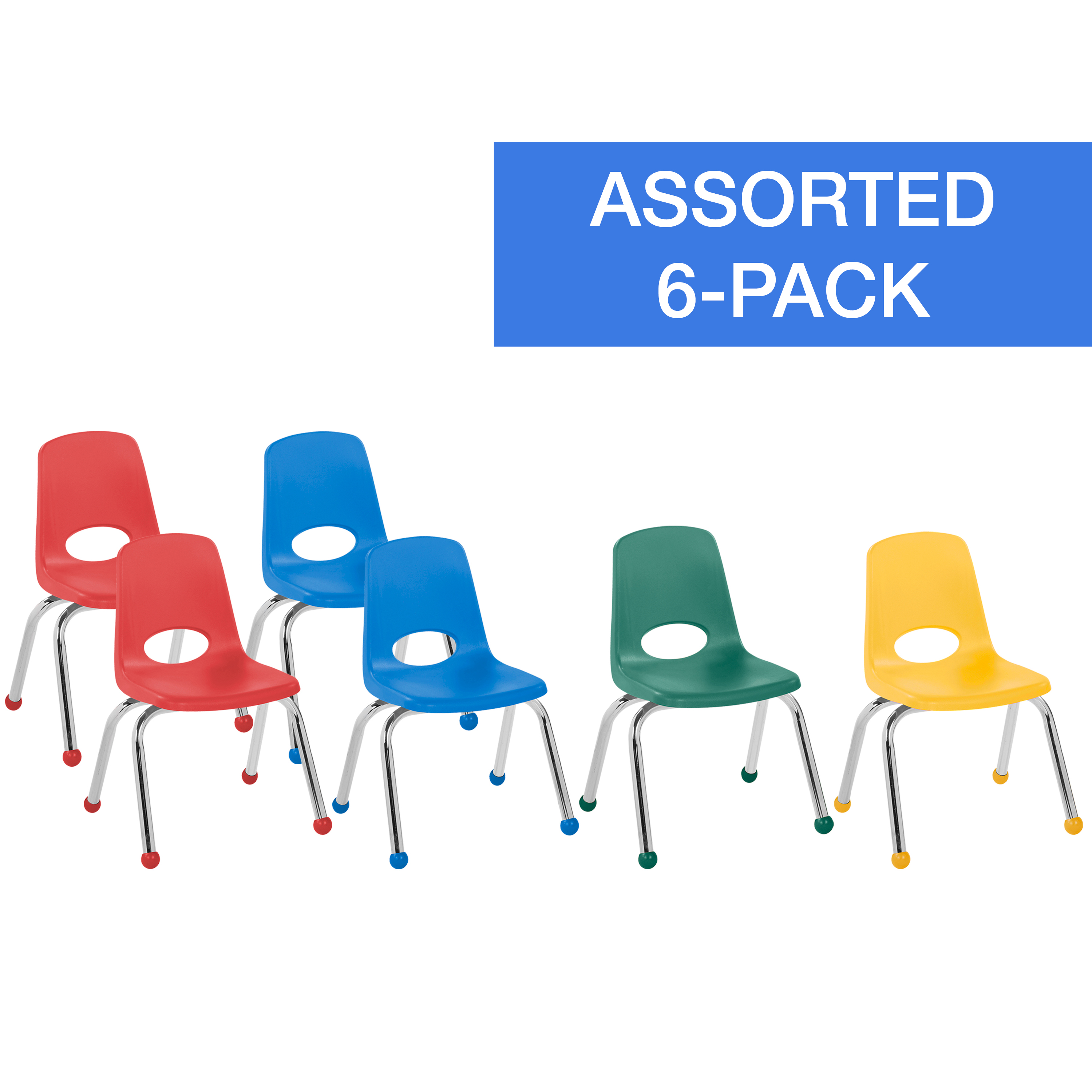 ECR4Kids 12in Stack Chair Chrome Legs Ball Glide 6-Piece - Assorted