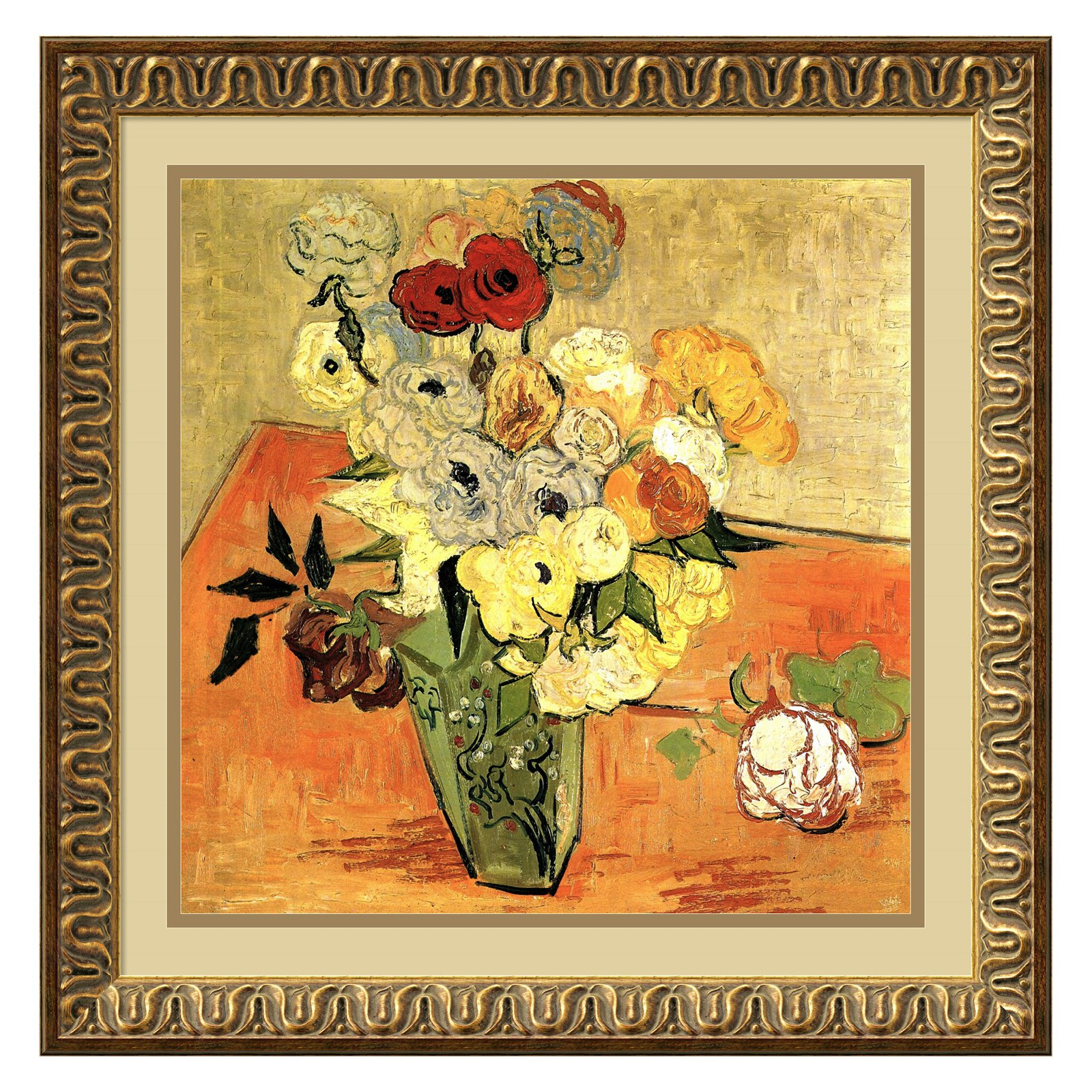 Roses and Anemones Framed Wall Art by Vincent van Gogh - 21.86W x 21.86H in.