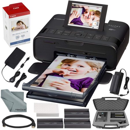 Canon SELPHY CP1300 Compact Photo Printer (Black) with WiFi and Accessory Bundle w/ Canon Color Ink and Paper Set + Case + Battery + More