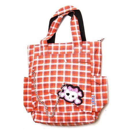 Clover Tote Chain Style Hand Bag - Orange and White Plaid with Cute Skull