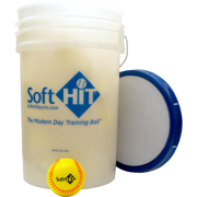 Soft HIT Bucket with Yellow Training Softball (18 Balls) by Soft HIT