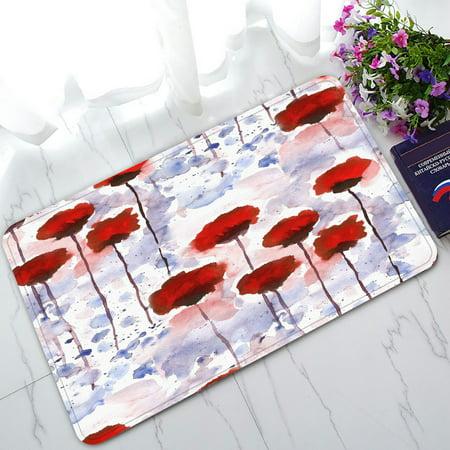PHFZK Flower Doormat, Watercolor Floral Poppies in the Spring Season Painting Red Doormat Outdoors/Indoor Doormat Home Floor Mats Rugs Size 30x18 inches