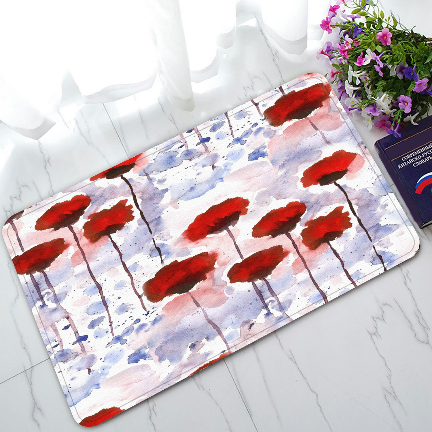 PHFZK Flower Doormat, Watercolor Floral Poppies in the Spring Season Painting Red Doormat Outdoors/Indoor Doormat Home Floor Mats Rugs Size 30x18 inches