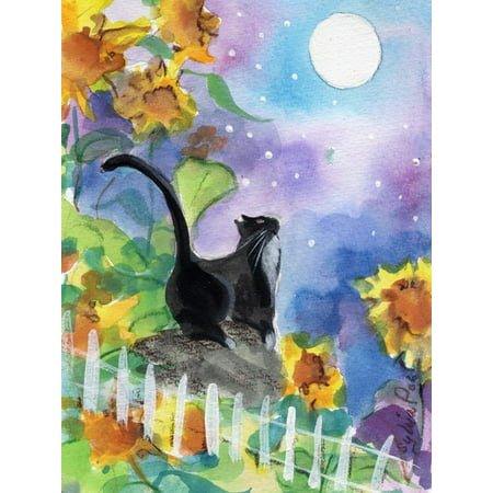 TUXEDO CAT MOONLIGHT SUNFLOWERS Whimsical Watercolor Animal Art Print Wall Art By sylvia (Cat Watercolor)