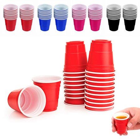 60X Mini Cups 2oz Plastic Shot Glasses Jello Jelly Drink Party Disposable Colors - Jello Shot Syringes Halloween