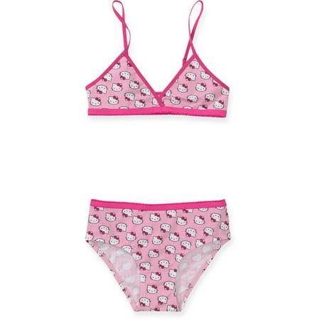 1cf3ec1261 Hello Kitty - Hello Kitty - Girls  Triangle Bra and Bikini Panties Set -  Walmart.com