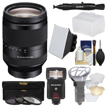 Sony Alpha E-Mount FE 24-240mm f/3.5-6.3 OSS Zoom Lens with Flash + Soft Box + Diffuser + 3 Filters + Kit for A7, A7R, A7S Mark II