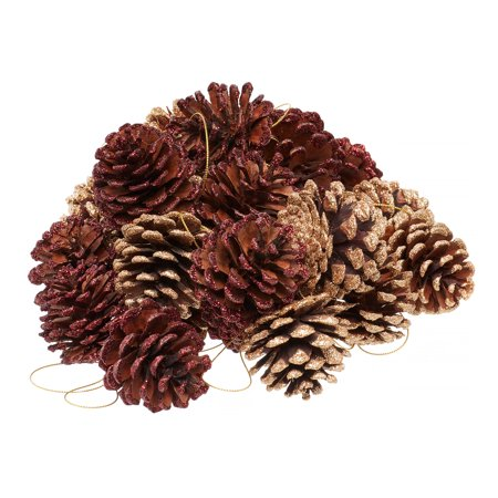 Holiday Time Pine Cone Ornaments Vase Filler, Red & Gold, 2 Count