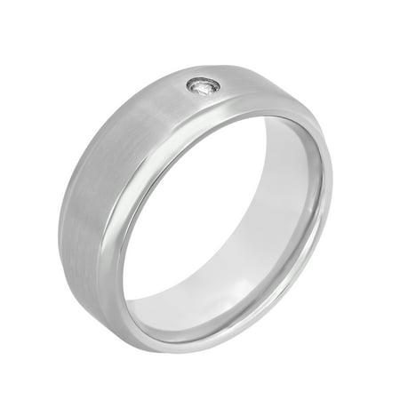Men's Titanium 8MM Diamond Accent Wedding Band - Mens Ring
