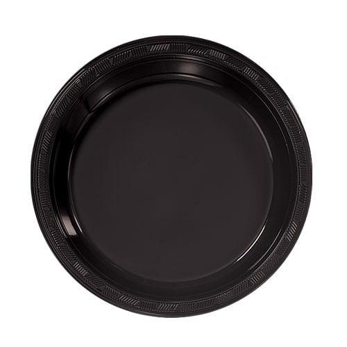 "Hanna K Plastic Plates, Round, 7"", Black, 50 Ct"