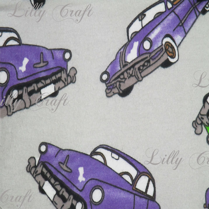 Flannel Classic Cars on Grey 45 Inch Fabric by the Yard