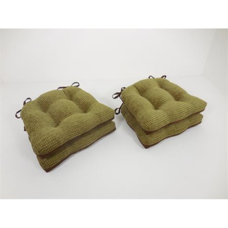 Chenille Suede - Essentials 19-63448OLE Bailey Woven Chenille Chair Pads with Tiebacks, Olive - Set of 4