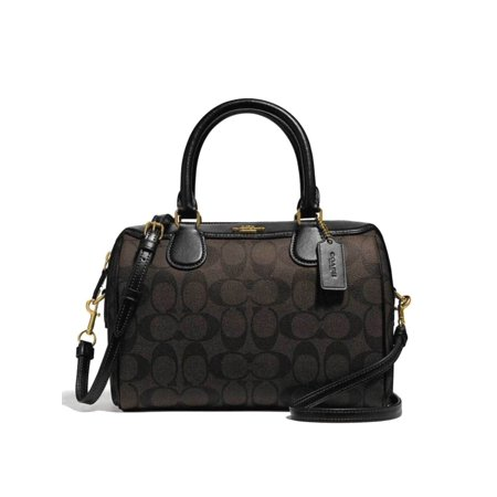 NEW WOMENS COACH (F32203) SIGNATURE BROWN BLACK PVC MINI BENNETT SATCHEL PURSE