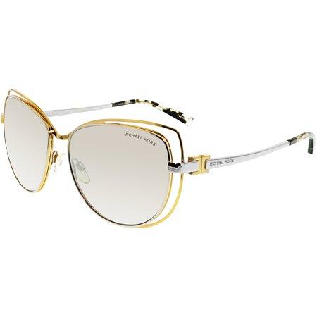 d191d02ca7e65 Michael Kors - Michael Kors Women s Mirrored Audrina MK1013-11196V-58 Gold  Cat Eye Sunglasses - Walmart.com