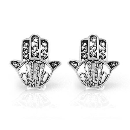 Chuvora 925 Sterling Silver Tiny Detailed Hamsa Hand of Fatima Good Luck Protection 14 mm Post Stud Earrings