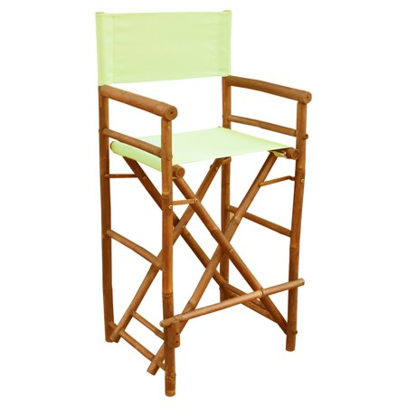 Bamboo 29-in. Bar Height Directors Chair with Solid Cover - Set of 2 ()
