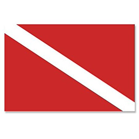 Scuba Dive Flag Sticker Decal (diving diver banner red white snorkel) 3 x 5 inch