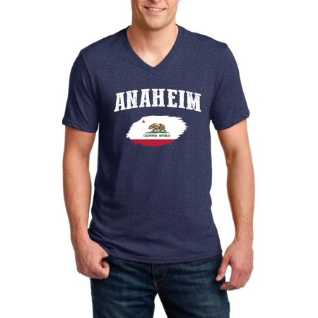 Anaheim California Men V-Neck Shirts Ringspun](Anaheim City)