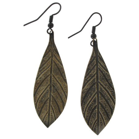 Ky & Co Antiqued Brass Tone Leaf Pierced Earrings 2 5/8