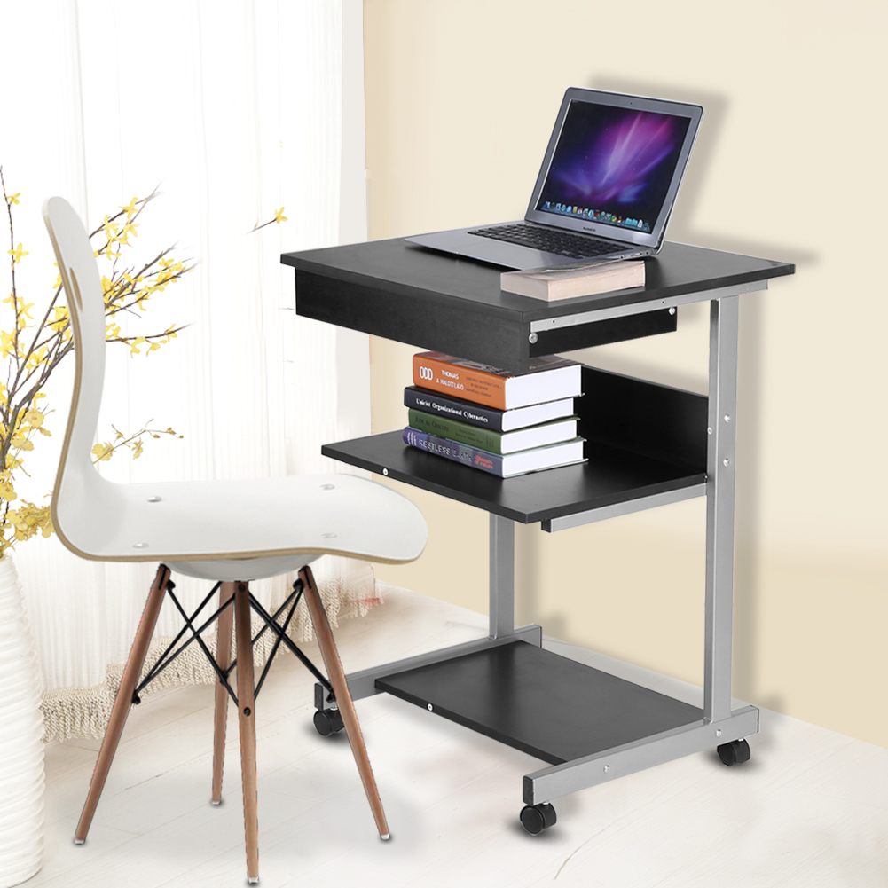 Yosoo Portable Modern Wooden Rolling Mobile Standing Computer Laptop Home  Office Workstation Desk, Wooden Computer Table, Mobile Computer Work  Station ...
