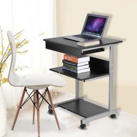 Portable Modern Wooden Rolling Mobile Standing Computer Laptop Home Office  Workstation Desk