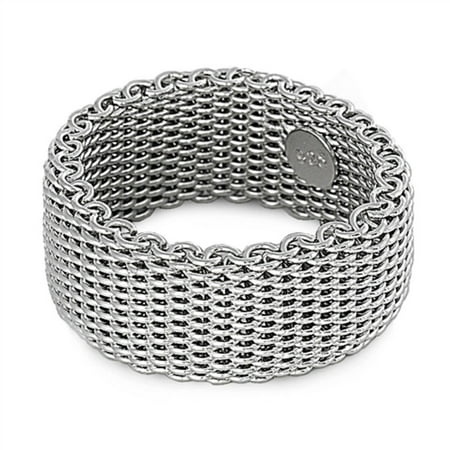 - 925 Sterling Silver Mesh Design Ring Size 10