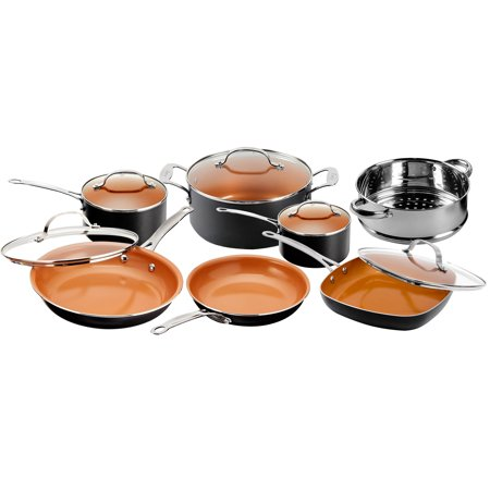 Gotham Steel 12 Piece Copper Kitchen Set with Non-Stick Ti-Cerama Copper Coating by Chef Daniel Green  Includes Skillets, Fry Pans and Stock Pots